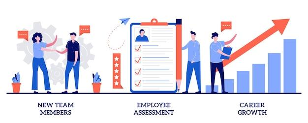 Nieuwe teamleden, beoordeling van medewerkers, concept van carrièregroei met kleine mensen. carrière ontwikkeling illustratie set. prestatiebeoordeling, swot-analyse, functie, metafoor van het projectteam.