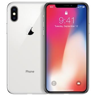 Nieuwe telefoon voorkant en witte achterkant met dubbele camera tekenformaat geïsoleerd op een witte achtergrond