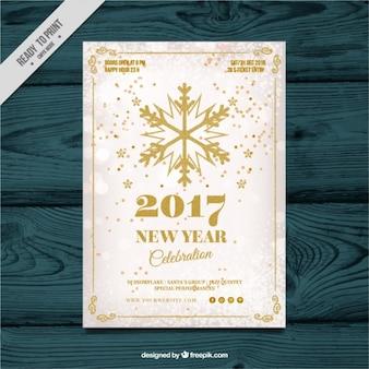 Nieuwe uitnodiging jaar feest met gouden sneeuwvlok
