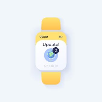 Nieuwe updates merken smartwatch-interface vectorsjabloon op. ontwerp van de dagmodus voor meldingen van mobiele apps. herinneringsscherm voor ongelezen berichten. platte gebruikersinterface voor toepassing. wereldbol op smartwatch-display
