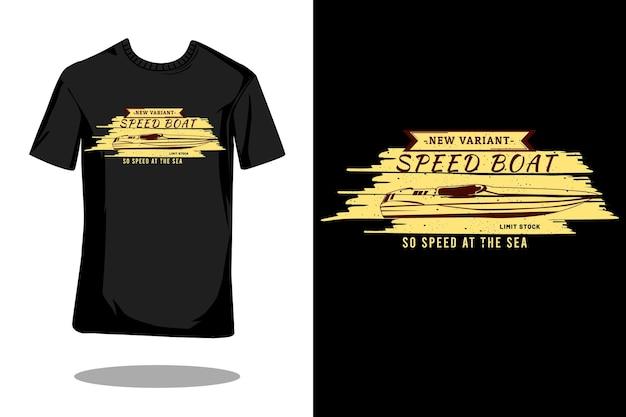 Nieuwe variant speedboot silhouet vintage design