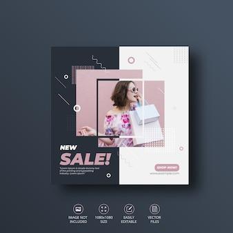 Nieuwe verkoop social media banner of square flyer-sjabloon