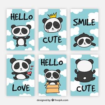 Nieuwe verzameling kaarten met leuke panda beer