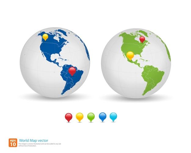 Nieuwe wereldkaart met wereldbol en pin marker locatie