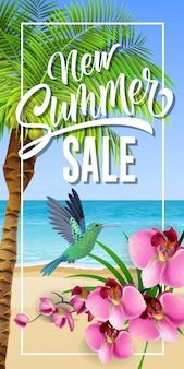 Nieuwe zomer verkoop belettering in frame met zee strand en kolibrie.