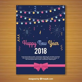 Nieuwjaar 2018 kaarten met lichtslingers