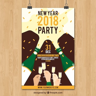 Nieuwjaar 2018 partij poster met champagne