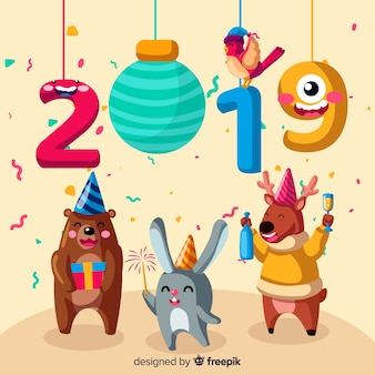 Nieuwjaar 2019 dieren achtergrond