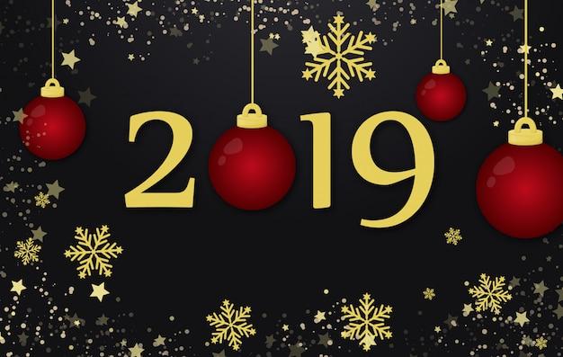 Nieuwjaar 2019 en merry christmas-vakantie achtergrondconceptenillustratie.