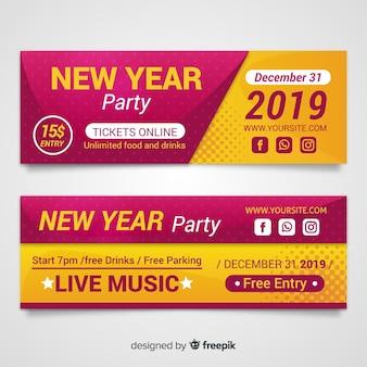 Nieuwjaar 2019 feestbanners