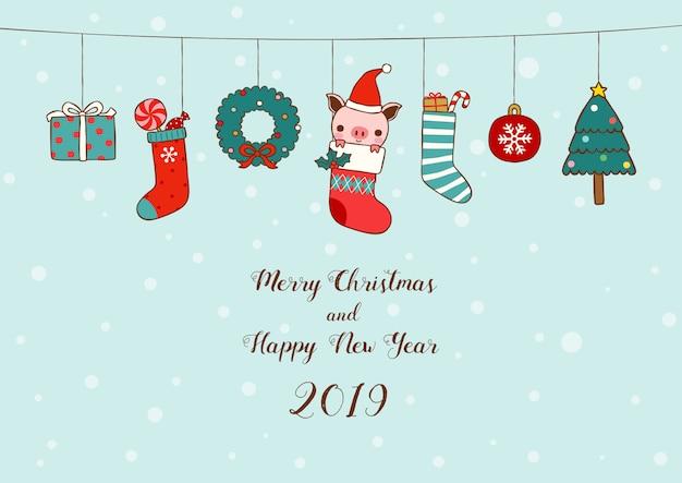 Nieuwjaar 2019-kaart kerstsokken