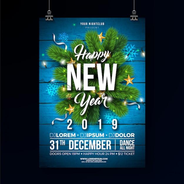 Nieuwjaar 2019 partij viering poster sjabloon