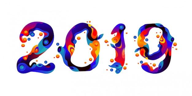 Nieuwjaar 2019 vloeibare en vloeibare kleurrijke vonken typografie