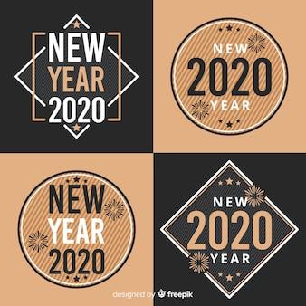 Nieuwjaar 2020 badge-collectie in plat ontwerp