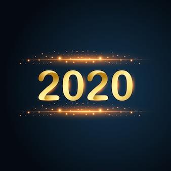 Nieuwjaar 2020 goud glitters op blauwe achtergrond