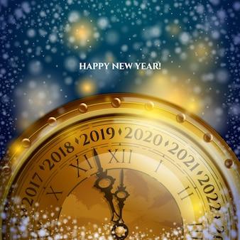 Nieuwjaar 2020 klok achtergrondontwerp