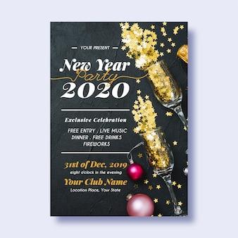 Nieuwjaar 2020 partij poster sjabloon met foto