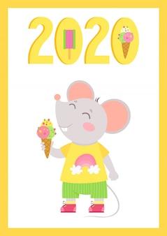 Nieuwjaar 2020 platte vector poster met muis sjabloon. kleine muis met ijs in een hand.