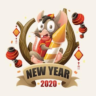 Nieuwjaar 2020 rat characterdesign voor chinees nieuwjaar