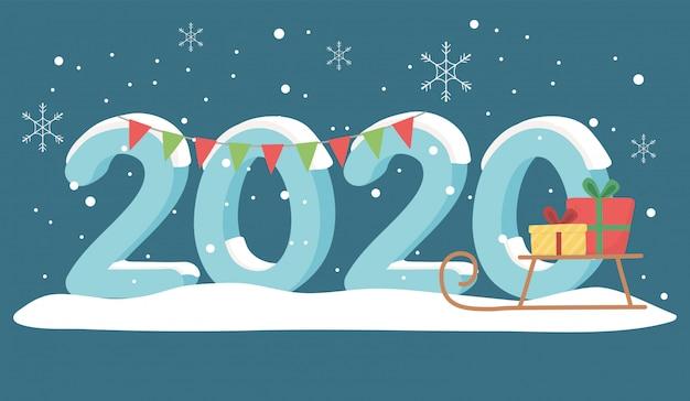 Nieuwjaar 2020 wenskaart sneeuw slee geschenken en garland