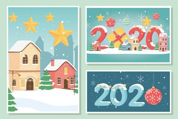 Nieuwjaar 2020 wenskaarten dorp sterren geschenkdozen en bal