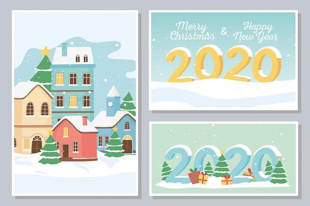 Nieuwjaar 2020 wenskaarten dorpshuizen sneeuw geschenken dozen