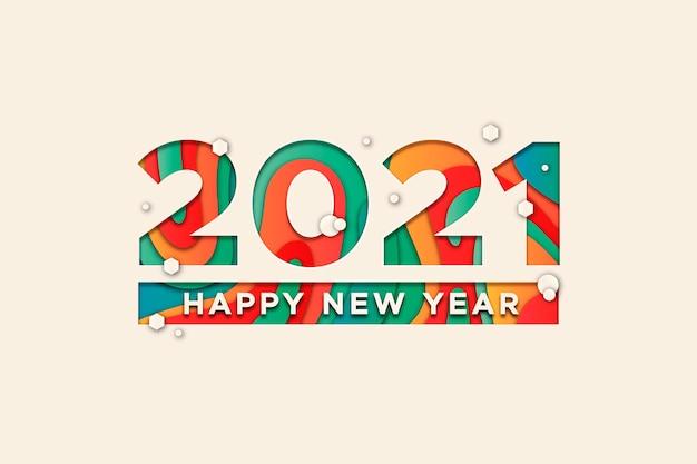 Nieuwjaar 2021 achtergrond in papieren stijl