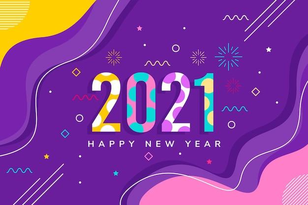 Nieuwjaar 2021 achtergrond in plat ontwerp