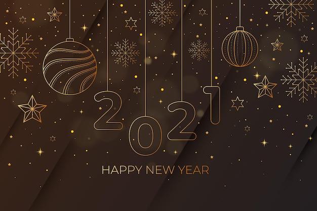 Nieuwjaar 2021 achtergrond met realistische gouden decoratie