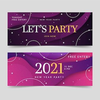 Nieuwjaar 2021 feestbanners in plat ontwerp