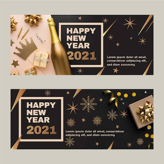 Nieuwjaar 2021 feestbanners met foto