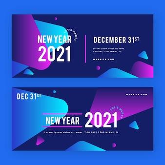 Nieuwjaar 2021 feestbanners