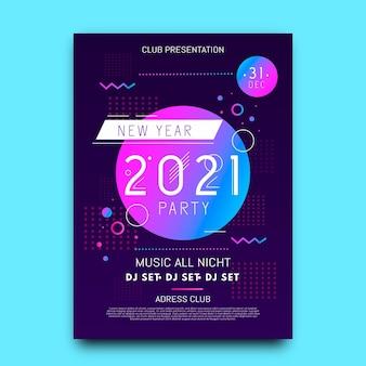 Nieuwjaar 2021 feestvlieger Premium Vector