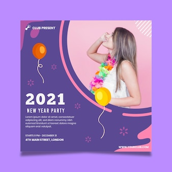 Nieuwjaar 2021 flyer-vierkant Gratis Vector