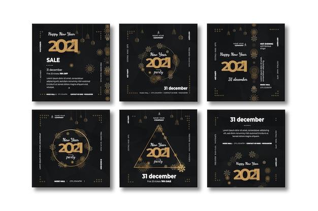 Nieuwjaar 2021 instagram postverzameling Premium Vector