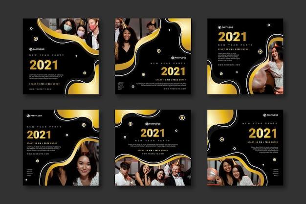 Nieuwjaar 2021 instagram postverzameling Gratis Vector
