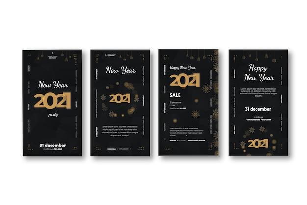 Nieuwjaar 2021 instagram-verhalencollectie Premium Vector
