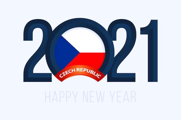 Nieuwjaar 2021 met de vlag van tsjechië. met belettering happy new 2021 year op witte achtergrond
