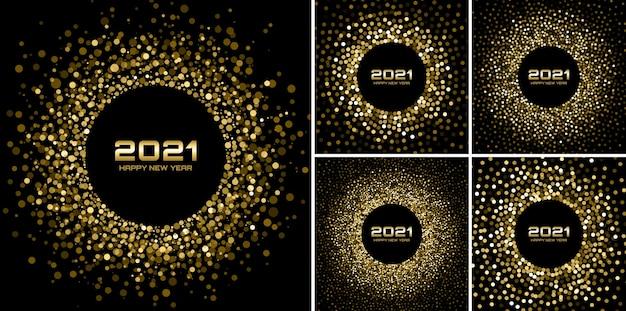 Nieuwjaar 2021 nacht achtergrondfeestset. wenskaarten. gouden glitter papieren confetti. glinsterende gouden feestelijke lichten. gloeiende cirkelframe gelukkig nieuwjaar wensen. gouden kerstcollectie. vector