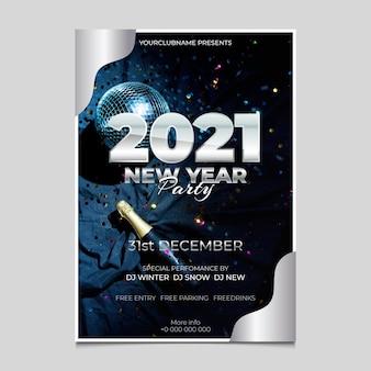 Nieuwjaar 2021 partij flyer-sjabloon