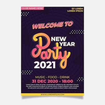 Nieuwjaar 2021 partij poster sjabloon in plat ontwerp