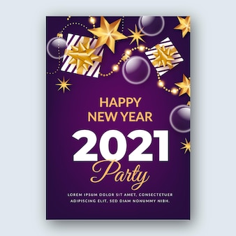 Nieuwjaar 2021 partij poster sjabloon