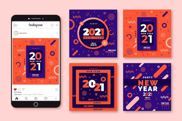 Nieuwjaar 2021 party instagram posts