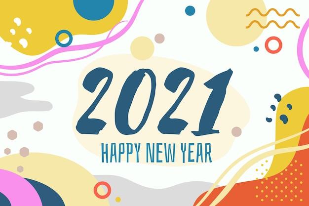 Nieuwjaar 2021 platte ontwerp memphis stijl achtergrond