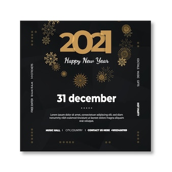 Nieuwjaar 2021 sjabloon folder