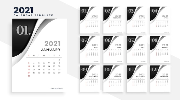Nieuwjaar 2021 stijlvolle kalender ontwerpsjabloon