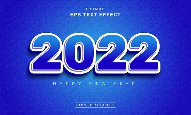 Nieuwjaar 2022 bewerkbaar 3d-teksteffect premium vector
