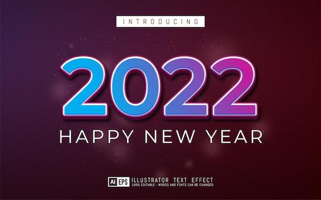 Nieuwjaar 2022 bewerkbaar in 3d-stijl teksteffect