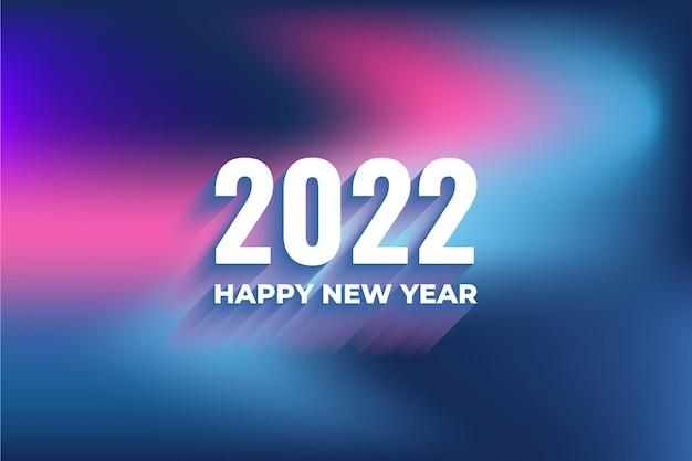 Nieuwjaar 2022 blauwe achtergrond met kleurovergang