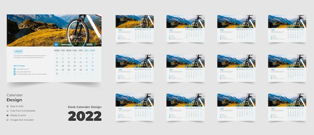 Nieuwjaar 2022 bureaukalenderbureaukalender voor zakelijk gebruik met kleurrijke abstracte vormen